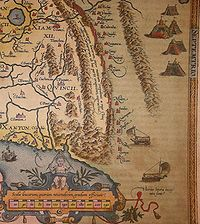 The first map of China printed in a European atlas, engraved by Abraham Ortelius (1584), shows a series of walls wedged between mountains against the Tartars, represented by yurts.