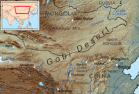 Topographical map of China's northern frontier area, with modern political boundaries. Manchuria, unmarked, is to the east of Inner Mongolia.