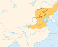 The Jurchen Jin dynasty (orange) shown with the walls of Liao, Xia, and Jin.