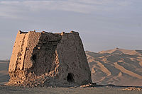 The ruins of a Han dynasty (202 BC – 220 AD) Chinese watchtower made of rammed earth, Gansu province. Part of Emperor Wu's extension of Han's defence lines to the western regions.