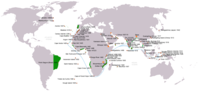 Portuguese exploration and discoveries: first arrival places and dates; main Portuguese spice trade routes in the Indian Ocean (blue); territories claimed during the reign of King John III (c. 1536) (green); Main Factories (orange)