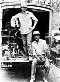 Spielberg and Chandran Rutnam in Sri Lanka during the filming of Indiana Jones and the Temple of Doom
