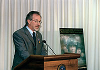 Spielberg speaking at the Pentagon on August 11, 1999 after receiving the Department of Defense Medal for Distinguished Public Service