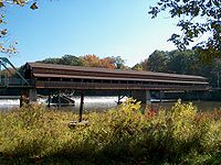 A covered bridge of the type where the Union Forces were positioned