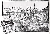 Sketch published by Outdoors Magazine in 1892, St. Luke's predecessor – a wooden church structure can be seen behind the corner of the pitch.