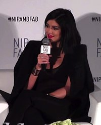Jenner being interviewed for Nip + Fab in 2015