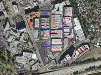 The Walt Disney Studios in an aerial photo from 1999