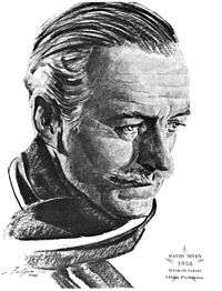 Drawing of Niven commemorating his 1958 Oscar win for Separate Tables