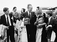 Niven with his family at Copenhagen Airport (5 August 1958)