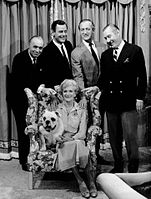 The cast of The Rogues (1964) with Charles Boyer, Gig Young, Niven, Robert Coote and Gladys Cooper