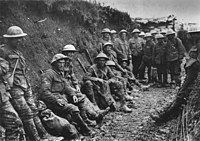 Soldiers from the Royal Irish Rifles in the Battle of the Somme's trenches 1916