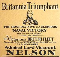 A modern reproduction of an 1805 poster commemorating the Battle of Trafalgar