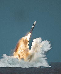 A Trident II SLBM being launched from a
