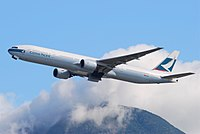 A 777-300 of Cathay Pacific, its launch operator.