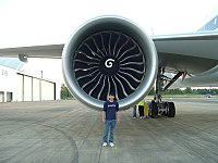 The more powerful GE90 engines of later variants has a 128 in (330 cm) diameter fan up from 123 in (310 cm) in earlier variants, and curved blades instead of straight ones