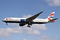 A 777-200ER of British Airways, its launch operator