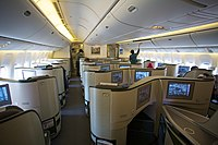 The Royal Laurel Class (Business Class) cabin in a 1-2-1 reverse herringbone layout on an EVA Air 777-300ER