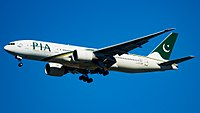 A Boeing 777-200LR in the livery of its first operator, Pakistan International Airlines.