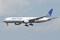 A 777-200 of United Airlines, its launch operator