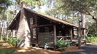 The McMullen-Coachman Log Cabin, built in 1852, is located at Heritage Village in Largo, Florida, and is the oldest standing structure in Pinellas County
