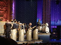 Weinberg leads The Max Weinberg 7 during a taping of Late Night with Conan O'Brien done on the road in Chicago in 2006.