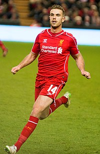 Henderson playing for Liverpool in 2014