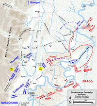 September 18 movements on the eve of the Battle of Chickamauga