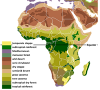 The main biomes in Africa.