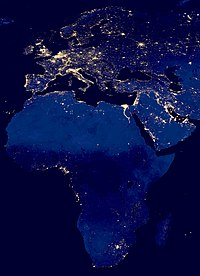 Satellite image of city lights in Africa showing the relatively low modern development on the continent in 2012 as compared to Eurasia.