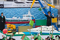 Workers in the service of Maritime and River Transport of Turkmenistan