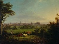 Leeds from the Meadows by Joseph Rhodes, 1825.