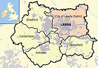 Map of Leeds in West Yorkshire
