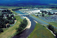 Aerial view of the business district of Moorefield, West Virginia. The U.S. Army Corps of Engineers has constructed levees along the South Fork to protect the town.