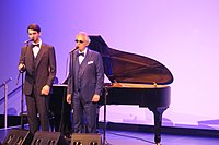 Bocelli and his son Matteo performing in New York at the presentation of the album Sì in 2018.