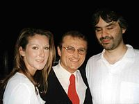 Bocelli with Celine Dion and Tony Renis in 2002.