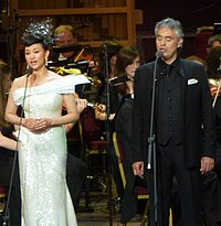 Andrea Bocelli and Song Zuying performing Time to Say Goodbye at the East Meets West concert at London's Royal Albert Hall, June 2012.