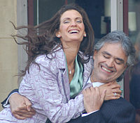 Bocelli with his wife Veronica Berti in March 2010.