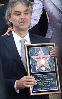 Bocelli receiving a star on the Hollywood Walk of Fame, 2010