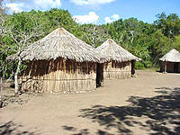 A 20th-century reconstruction of an 8th-century Taíno village, located at the spot where their ballpark and remains were discovered in 1975, in the aftermath of Hurricane Eloise.