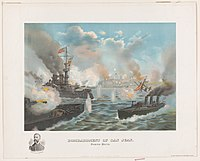 Artistic rendering of the 1898 Bombardment of San Juan by American forces during the Spanish–American War