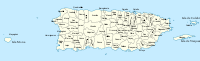 A map of Puerto Rico showing its 78 municipalities; the islands of Vieques and Culebra have their own municipal governments