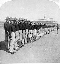 The first company of Puerto Ricans enlisted in the U.S. Army, within a year of the U.S. invasion