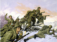 Painting of a bayonet charge by the U.S. 65th Infantry Regiment, made up of Puerto Rican troops, against a Chinese division during the Korean War