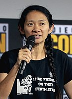 Director Chloé Zhao promoting Eternals at the 2019 San Diego Comic-Con