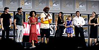 The cast of Eternals at the 2019 San Diego Comic-Con
