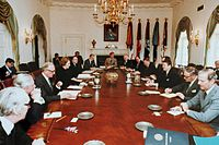 Thatcher's Ministry meets with Reagan's Cabinet at the White House, 1981.