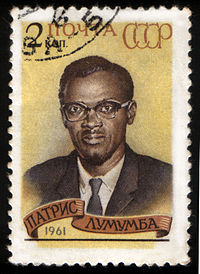 1961 Soviet stamp commemorating Patrice Lumumba, assassinated prime minister of the Republic of the Congo