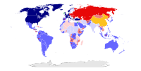 The world map of military alliances in 1980