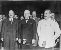 Clement Attlee, Harry S. Truman and Joseph Stalin at the Potsdam Conference, 1945