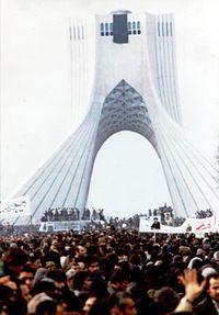 Iranian people protesting against the Pahlavi dynasty, during the Iranian Revolution
